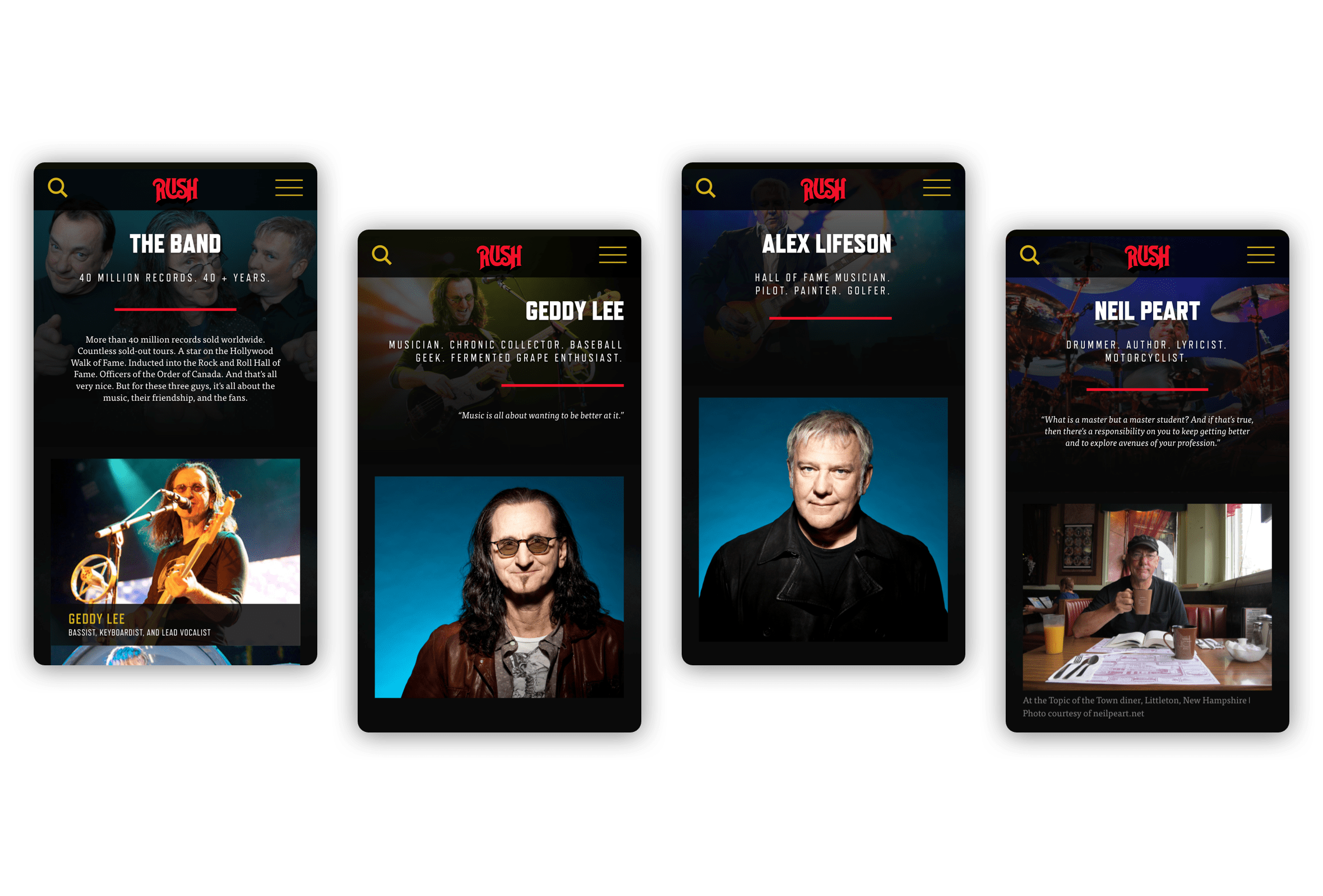 Visuels mobile des biographies des membres de Rush