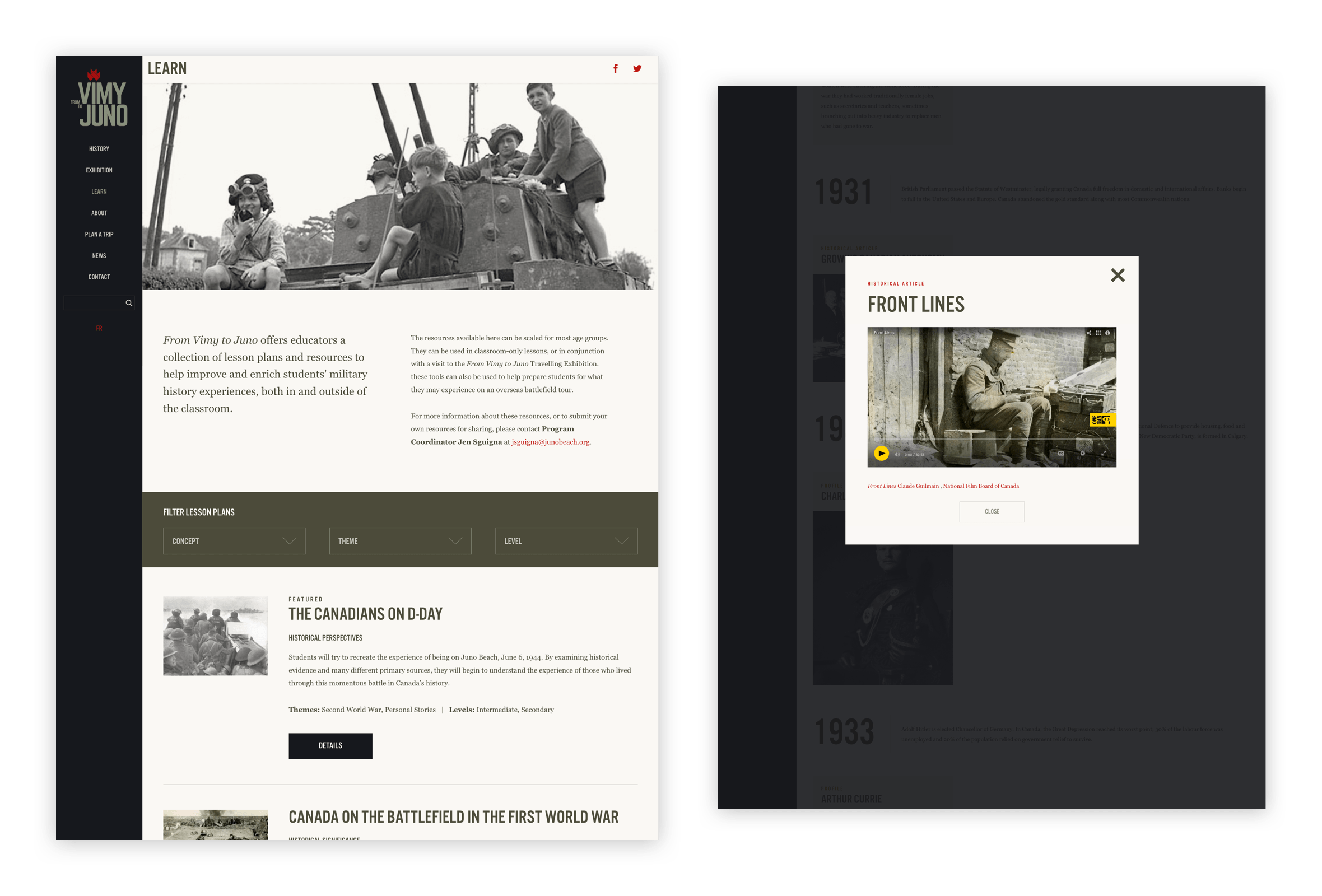 Desktop visual of a learning resource about Vimy to Juno