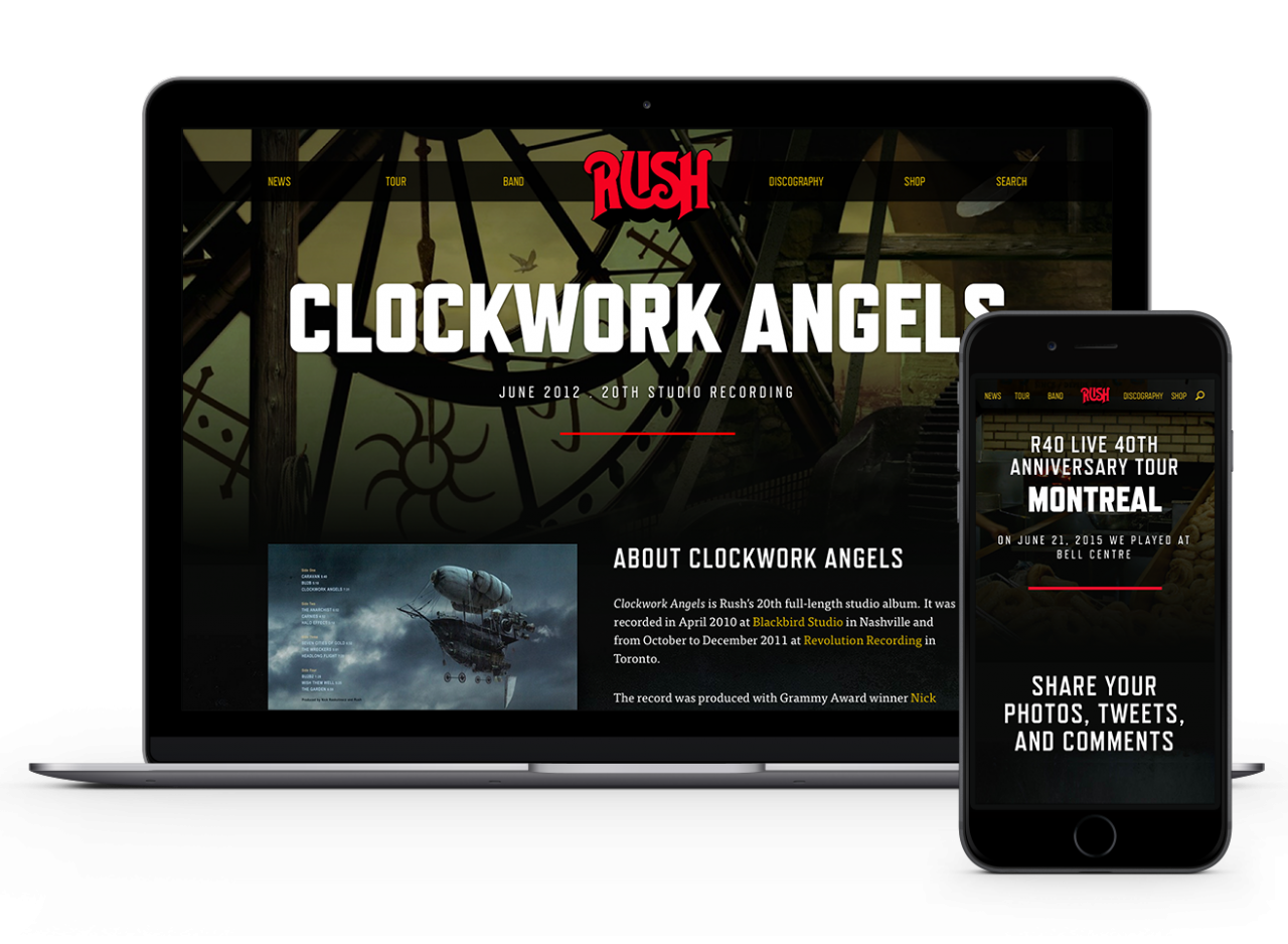 Rush Website on Desktop and Mobile