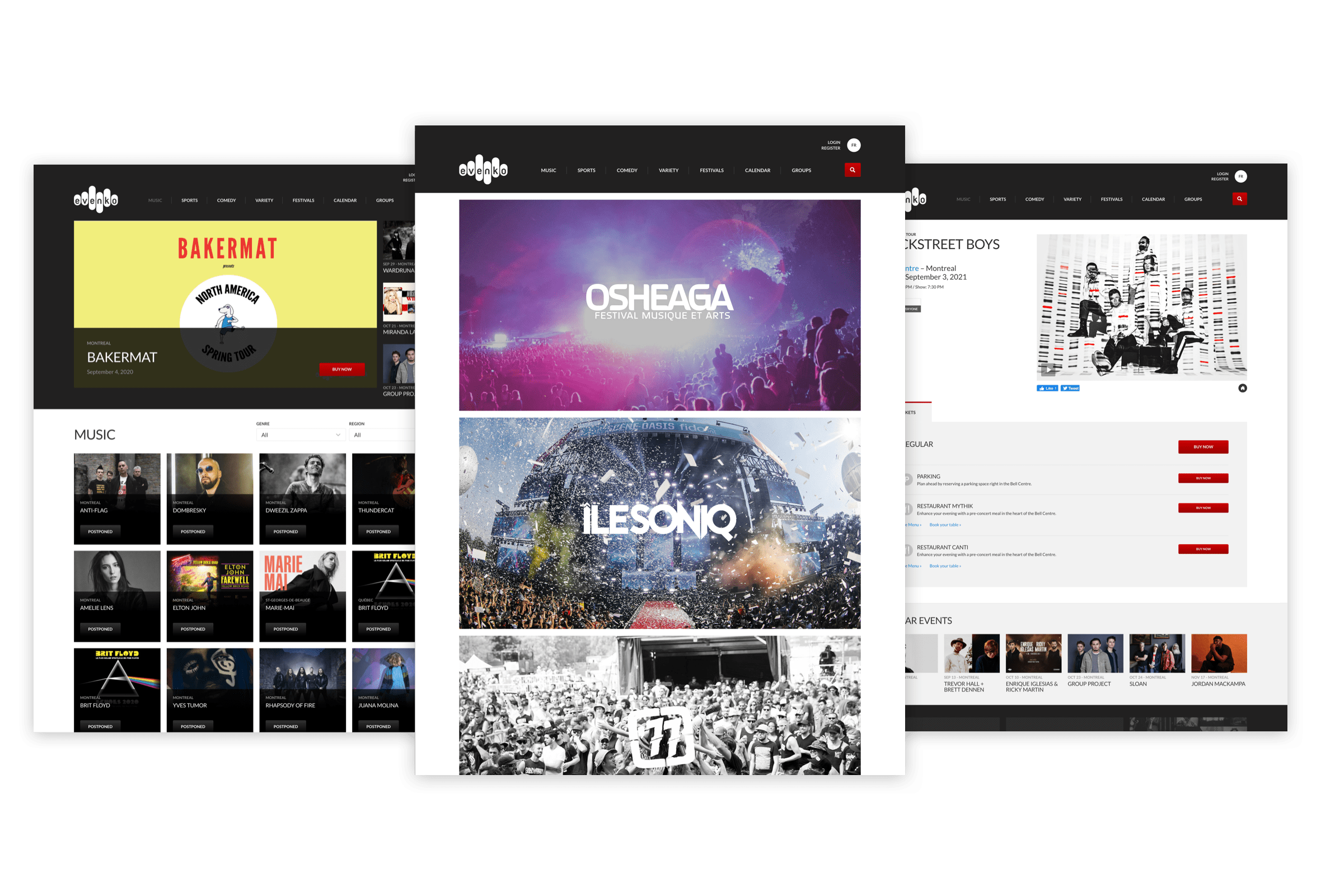 Desktop visuals of the music category index page, the festivals page and a single show page