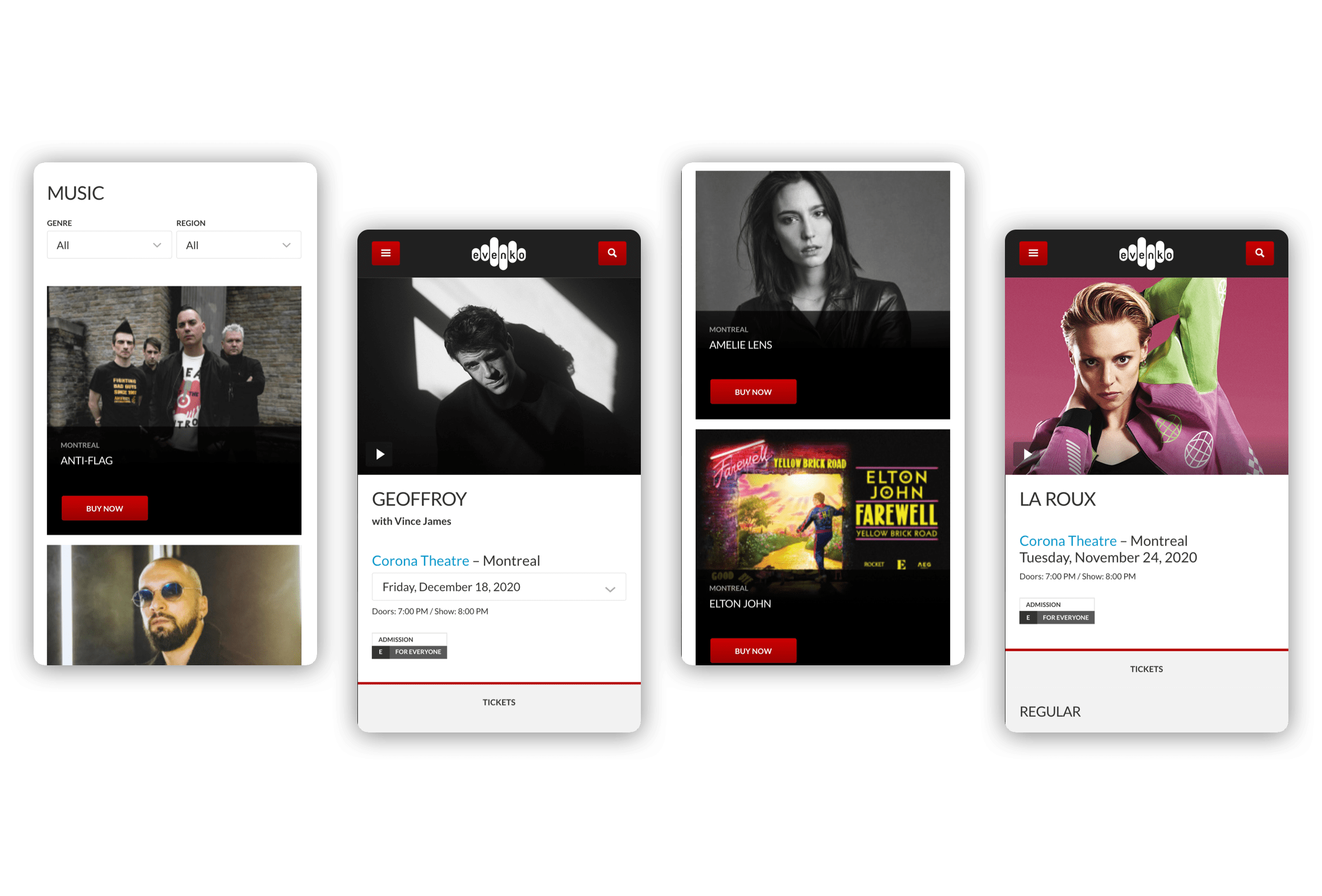 Mobile visuals for various pages of the evenko website