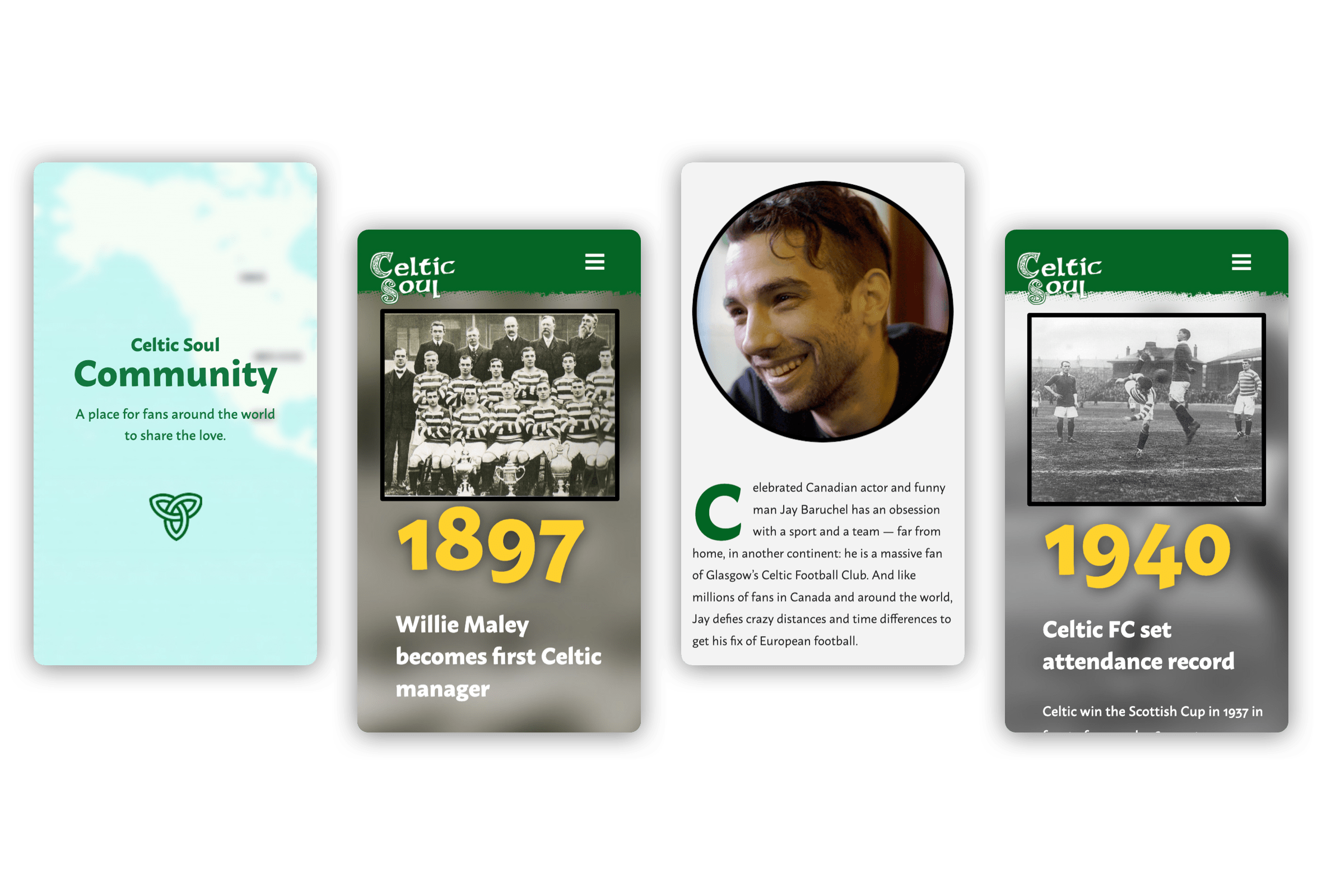 Mobile visuals of the community and history timeline pages