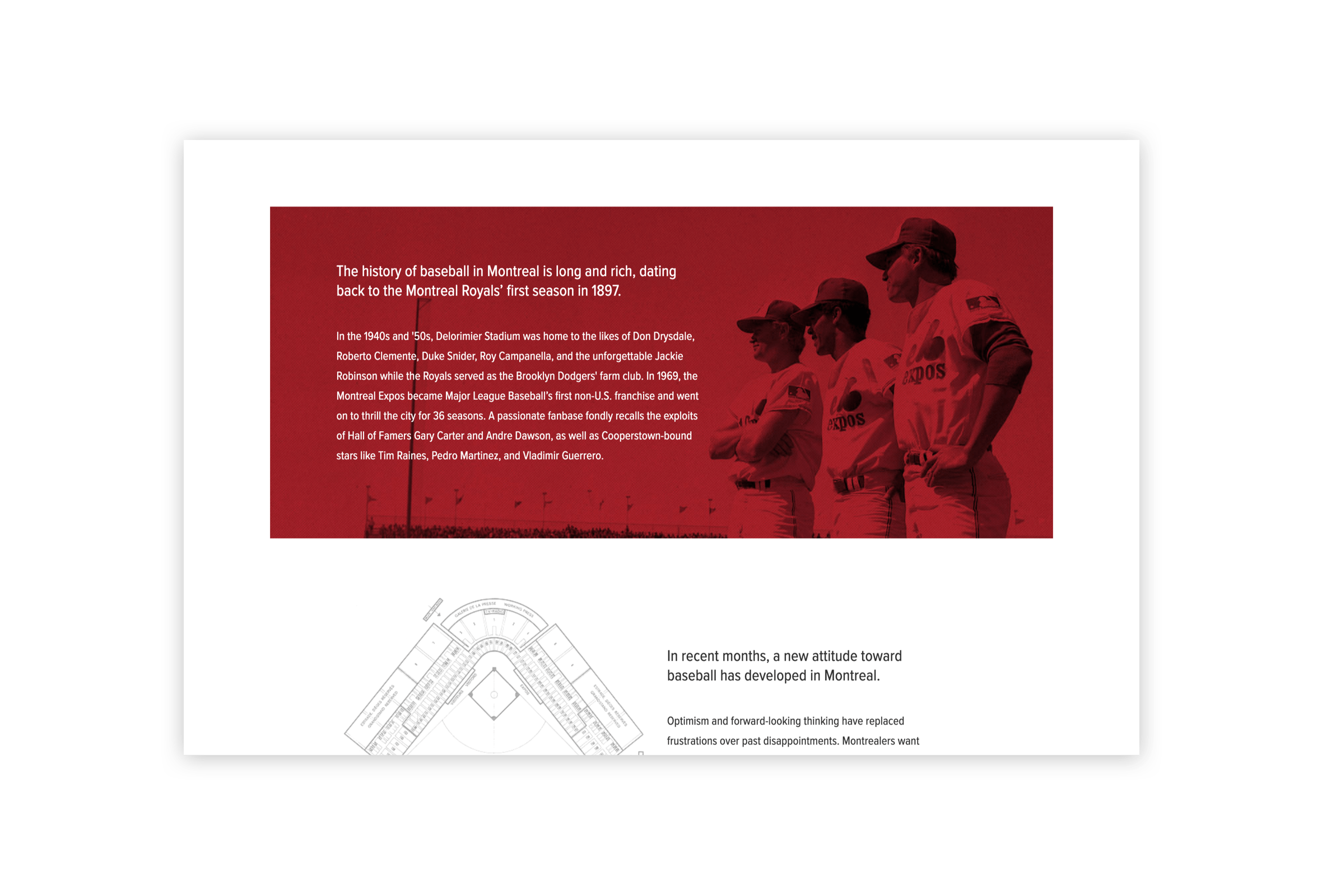 Desktop visual of the history of baseball in Montreal