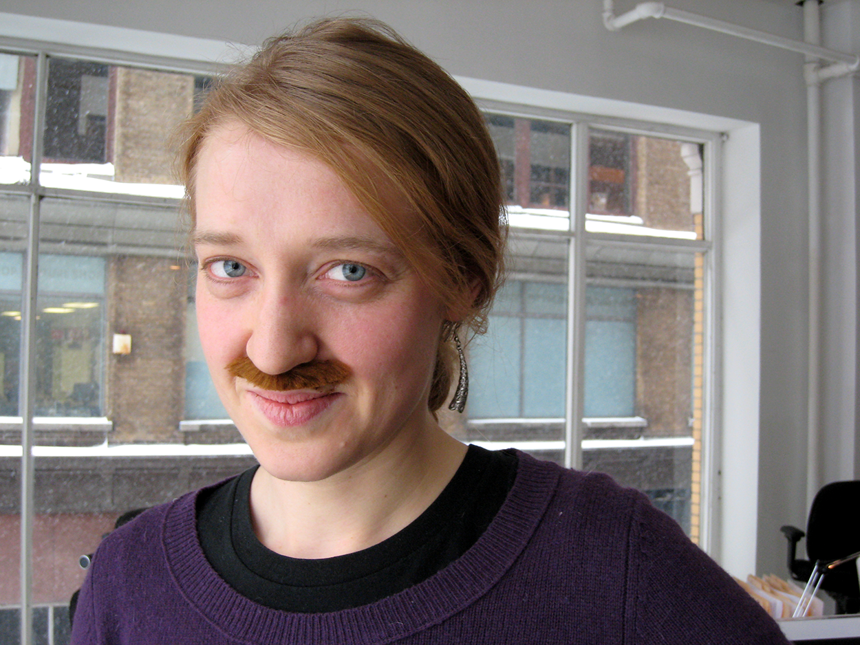 Nancy Beaton wearing a silly moustache