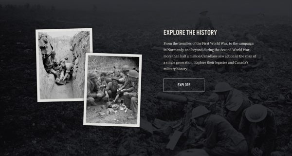 A screenshot from the From Vimy to Juno website