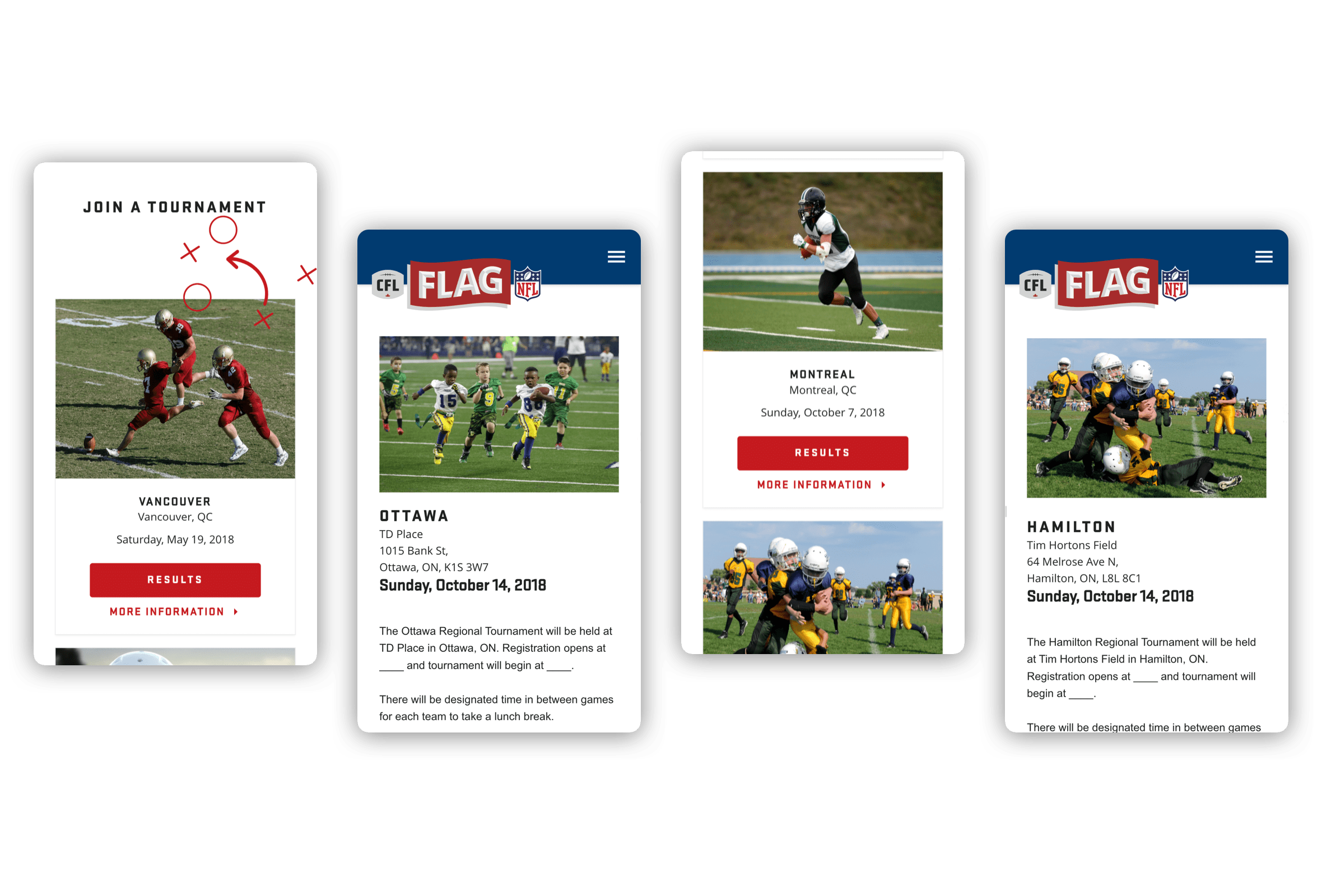 Mobile visuals of various Flag Football tournaments