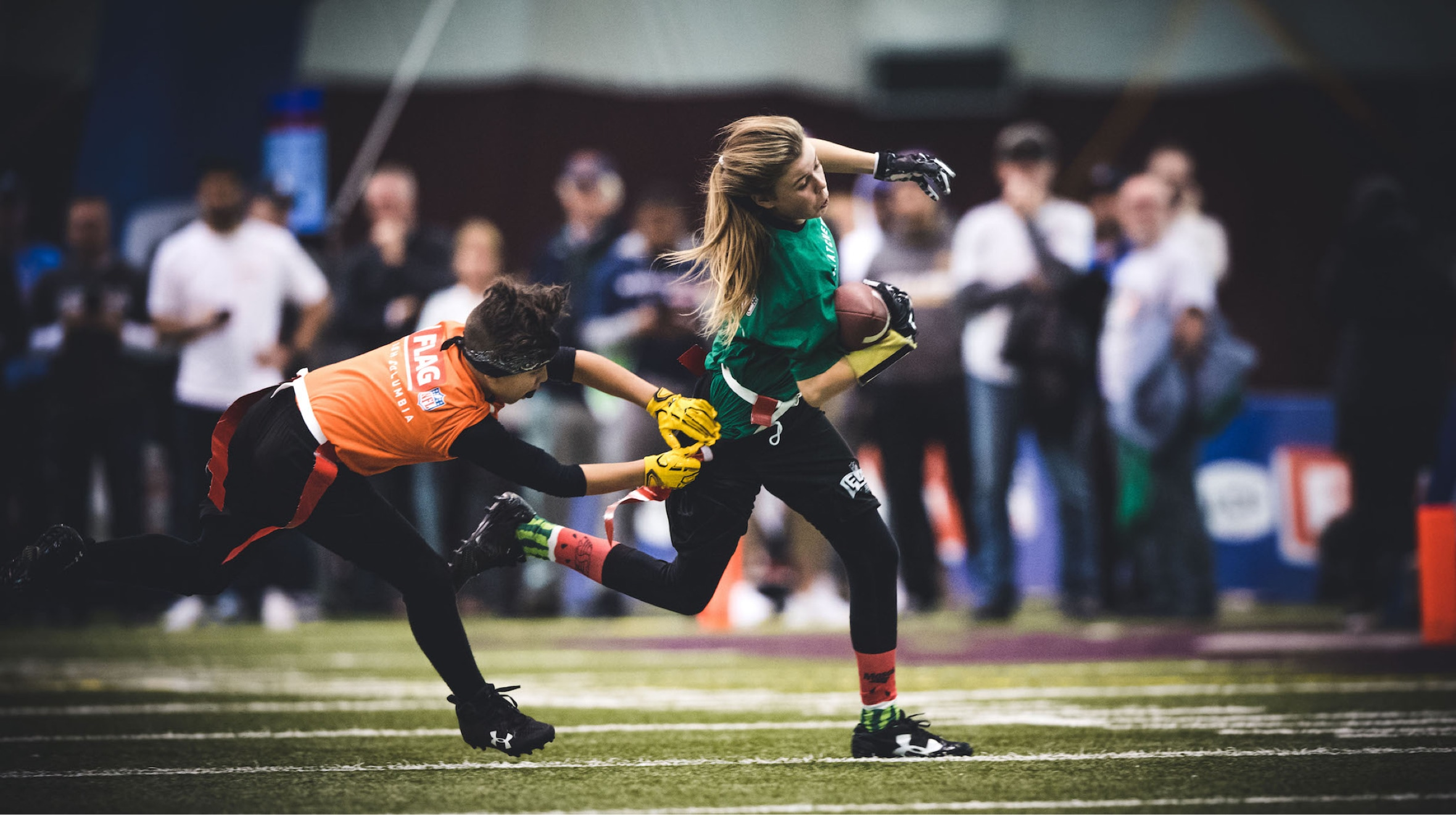 Image of two young Flag Football players