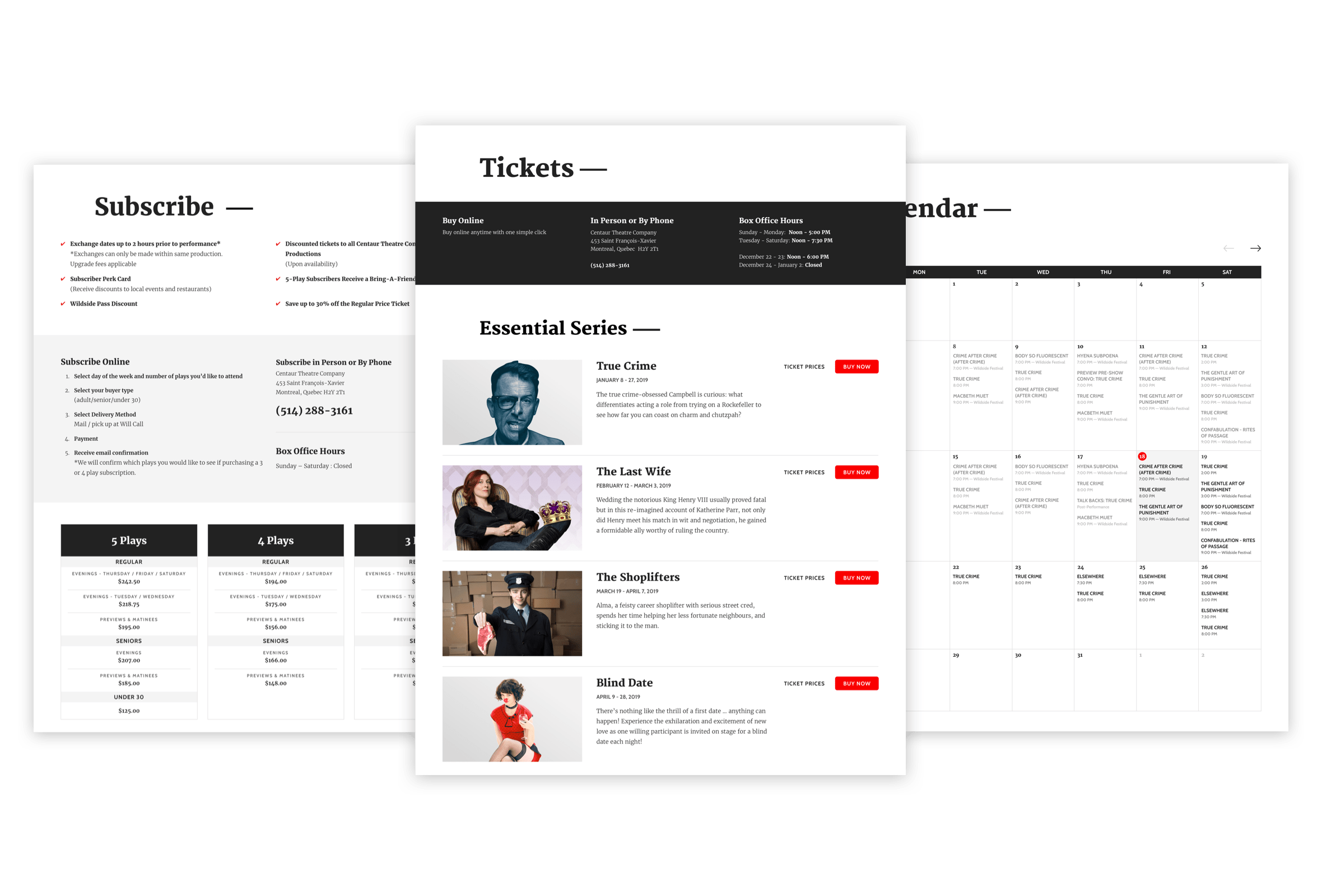 Desktop visual of the Subscribe, Tickets and Calendar pages