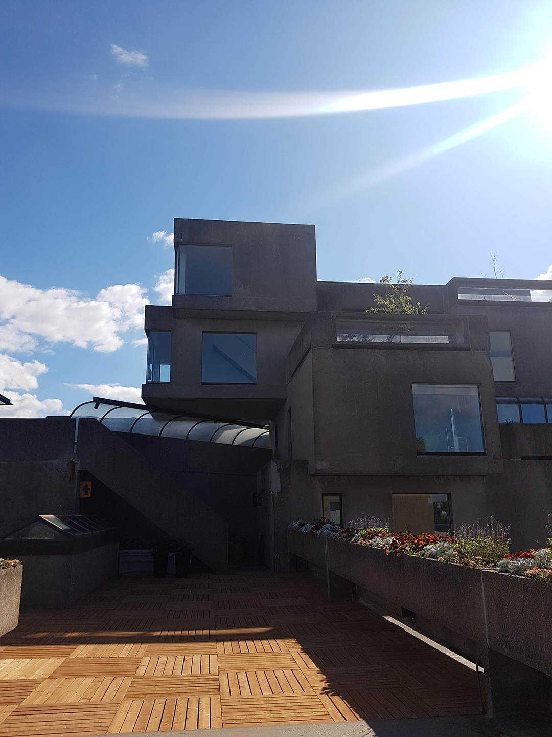 A view of Habitat 67's exterior shared spaces