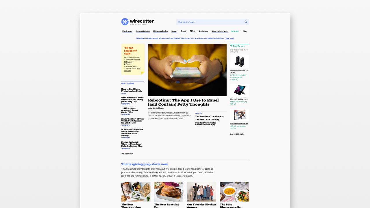 A screenshot of The WireCutter website