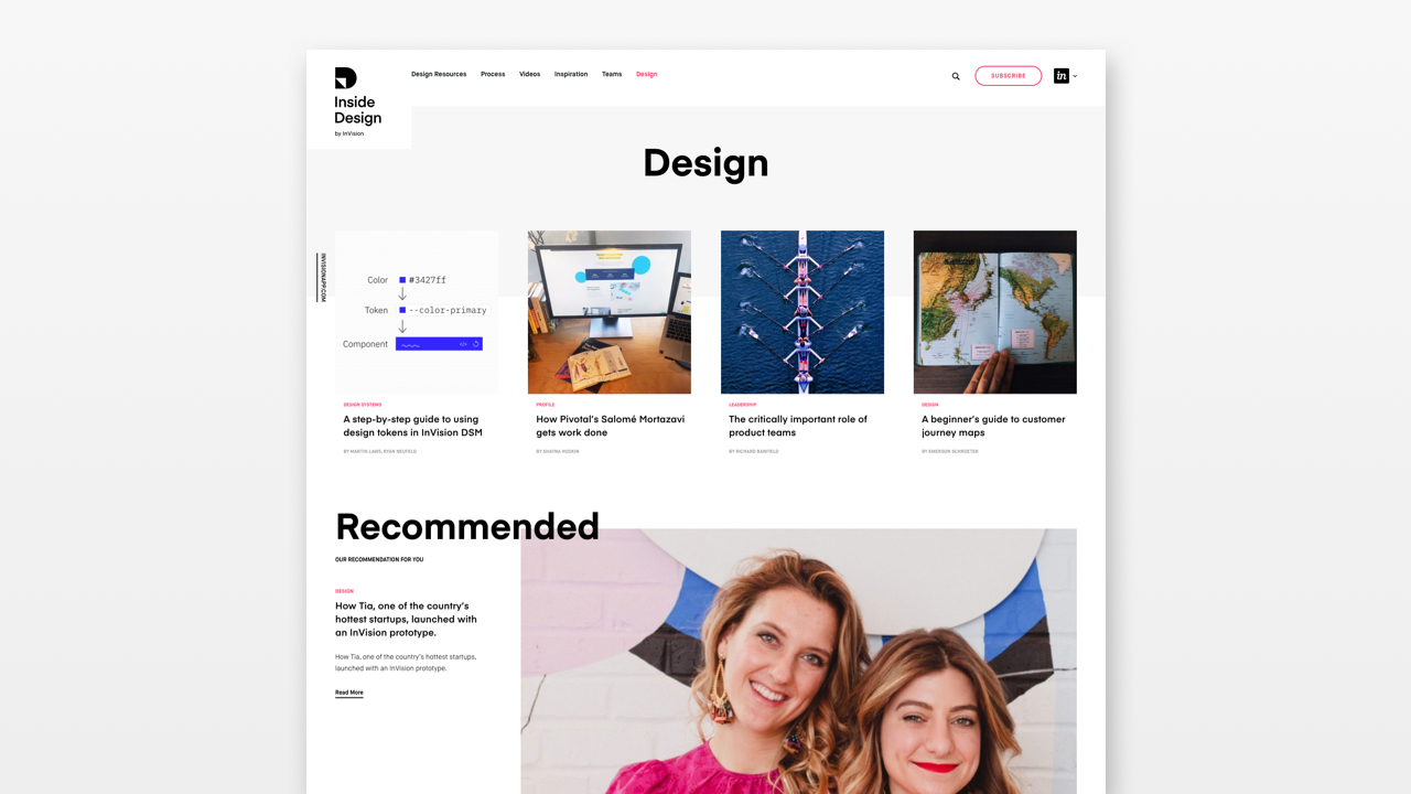 A screenshot of InVision's InsideDesign website