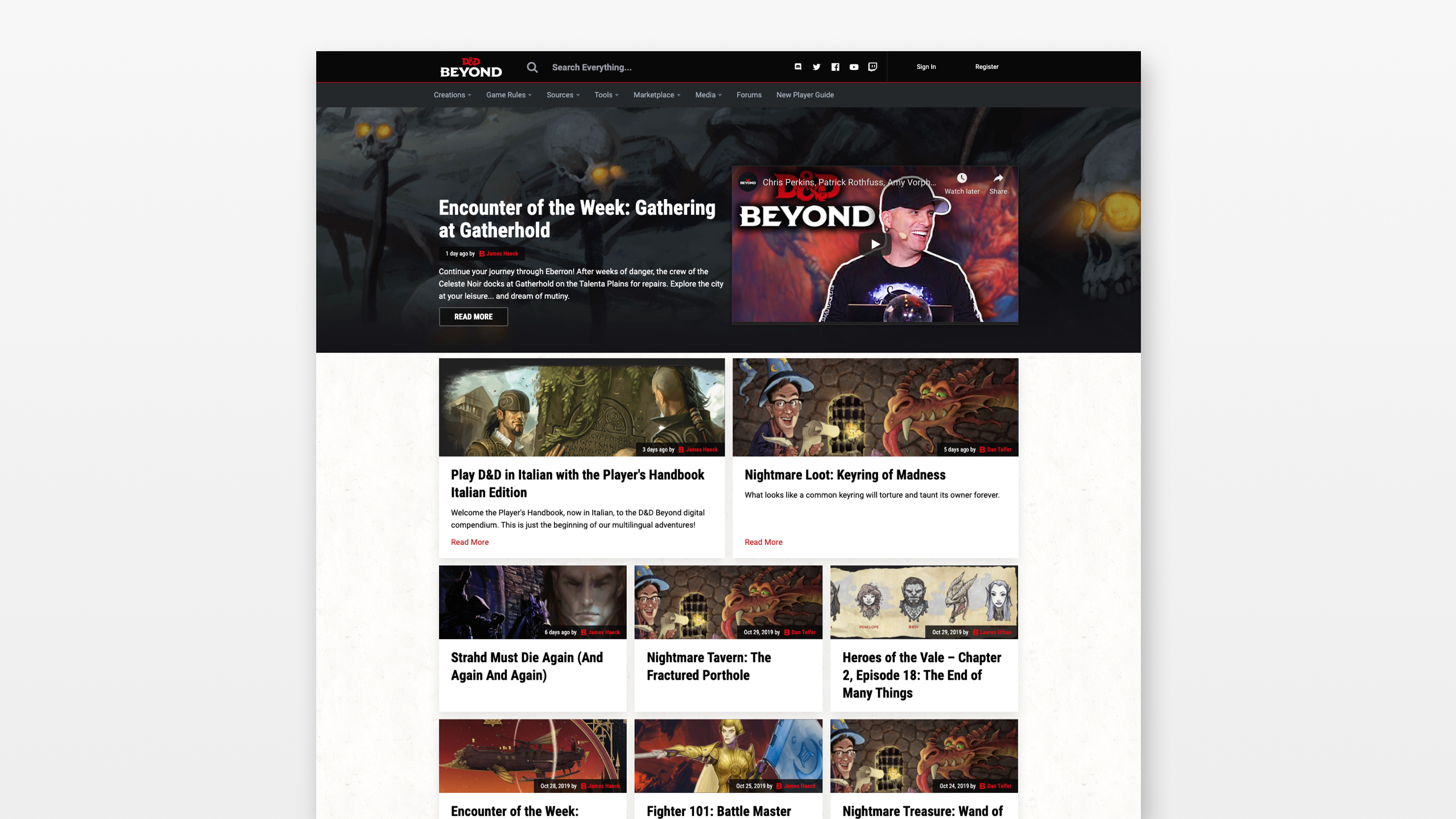 A screenshot of the DND and Beyond website