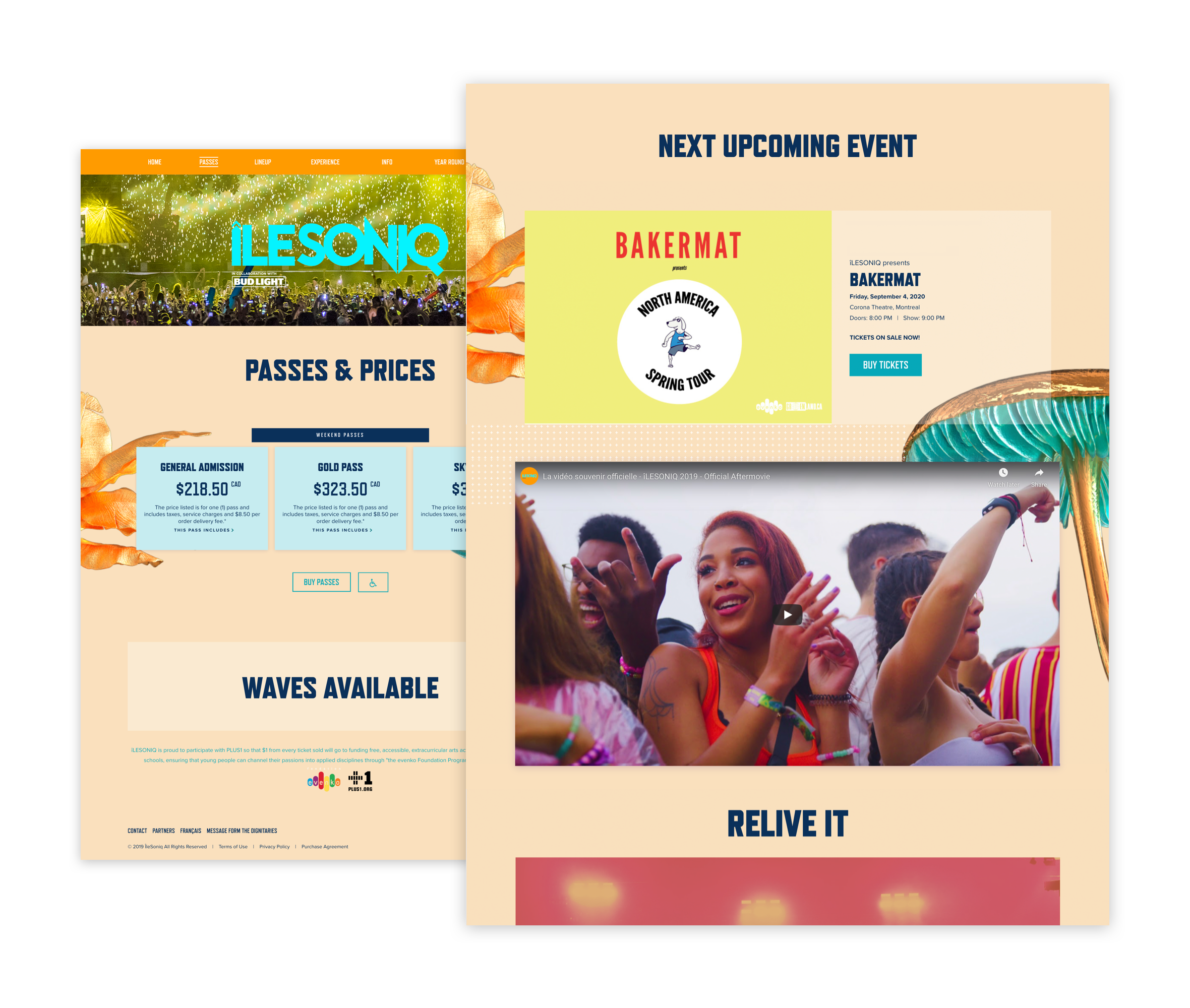 Desktop visuals of the passes & prices pages and the homepage