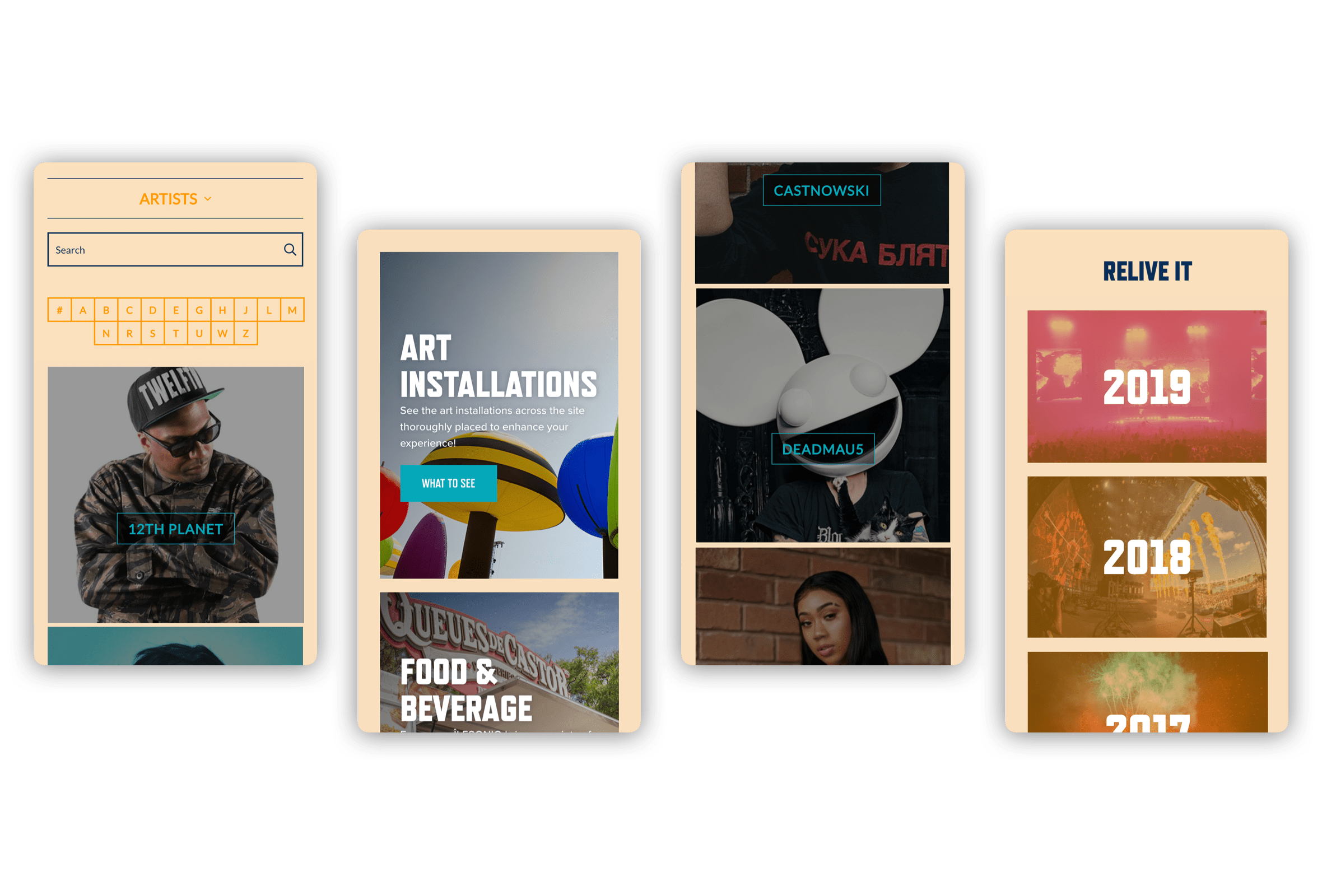 Mobile visuals for the different pages of the site