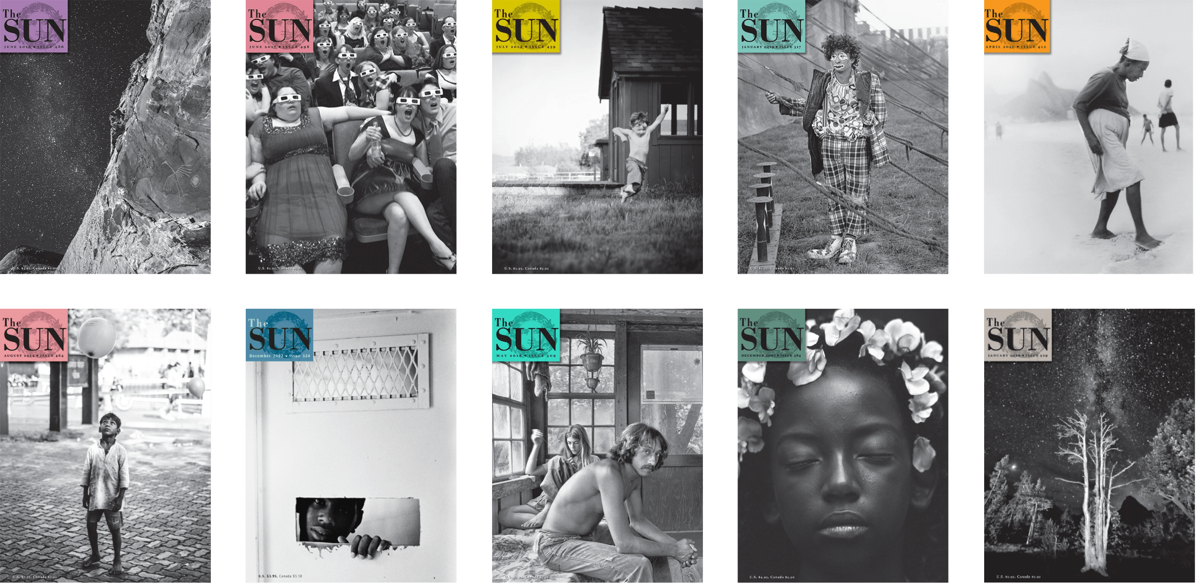 Various magazine covers through the years