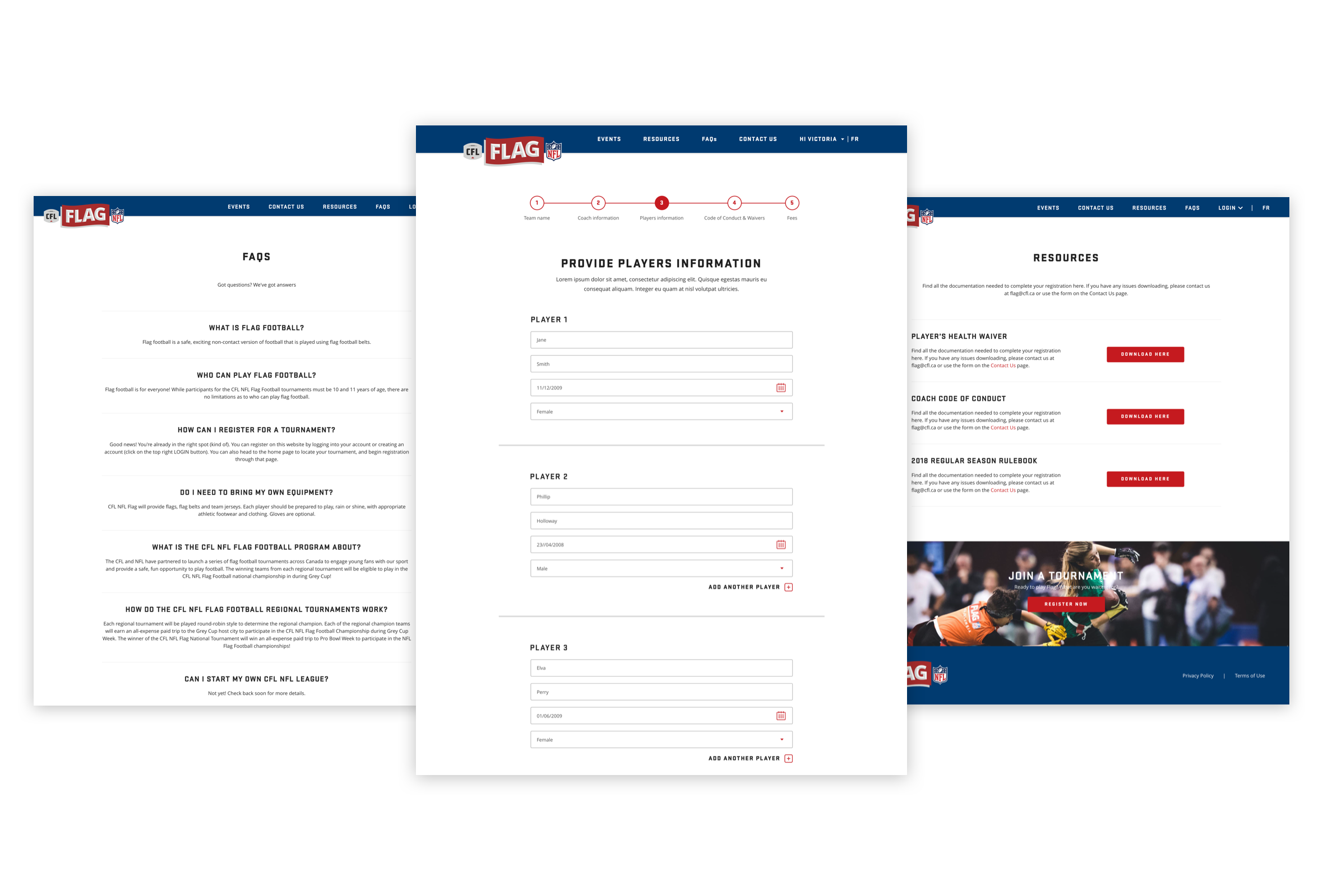 Desktop visuals of the FAQ, enrolment form and resources pages