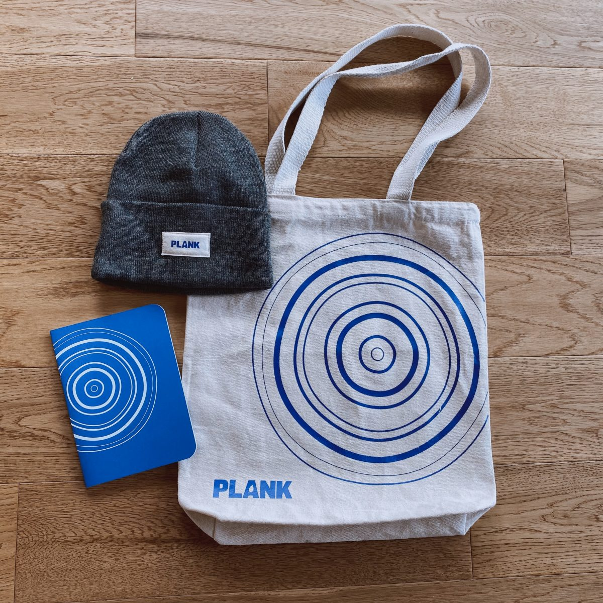 A cream tote and notebook with a blue circle design, and a beanie with our logo all laid down on a wood floor