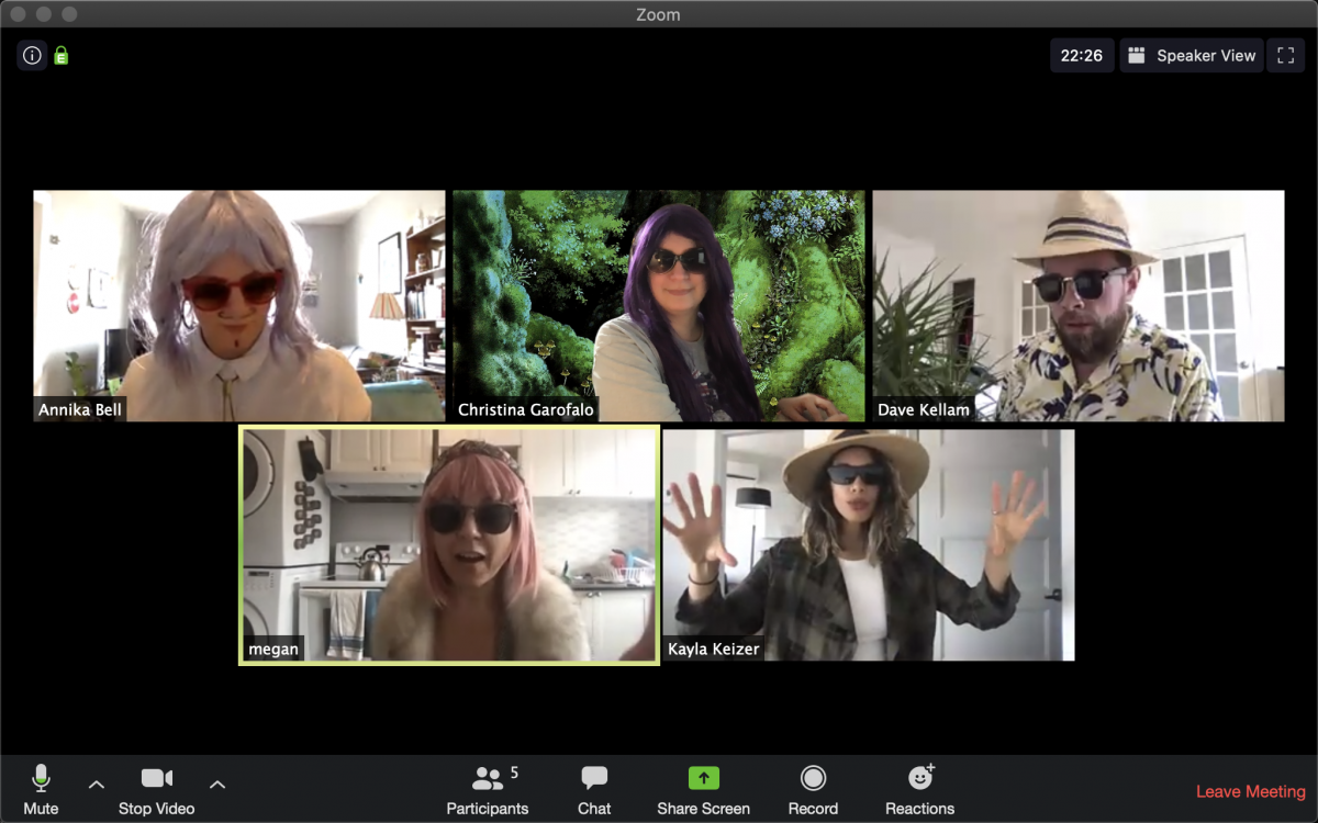 A screenshot of a zoom call with 5 people wearing varying types of wigs and sunglasses.