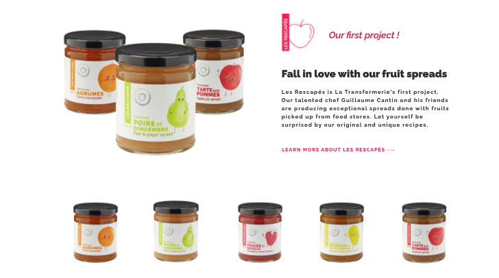 Website screenshot of different jams offered by La Transformerie.