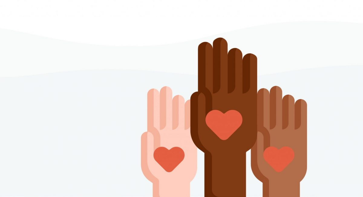 A graphic of three hands of varying skin colours all holding a little heart.