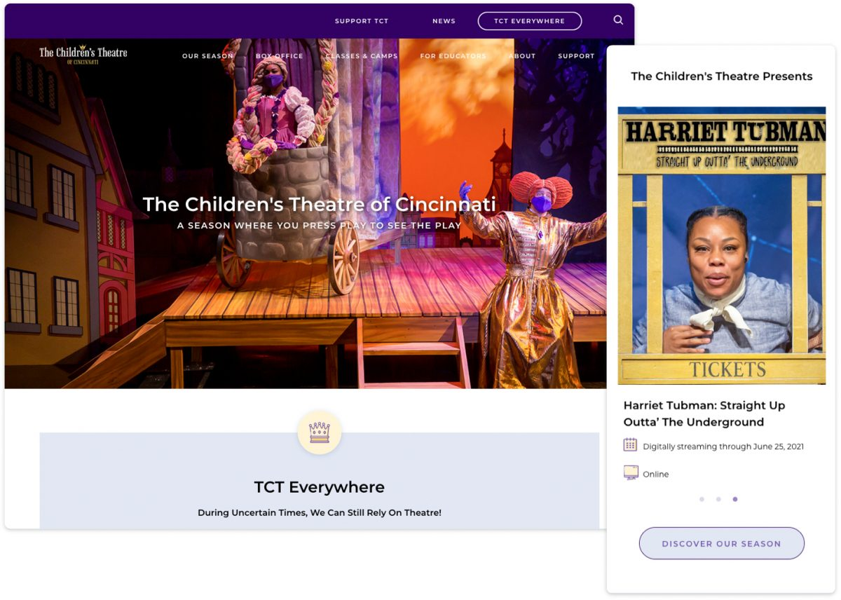 The Children's Theatre of Cincinnati content differences on desktop versus mobile.