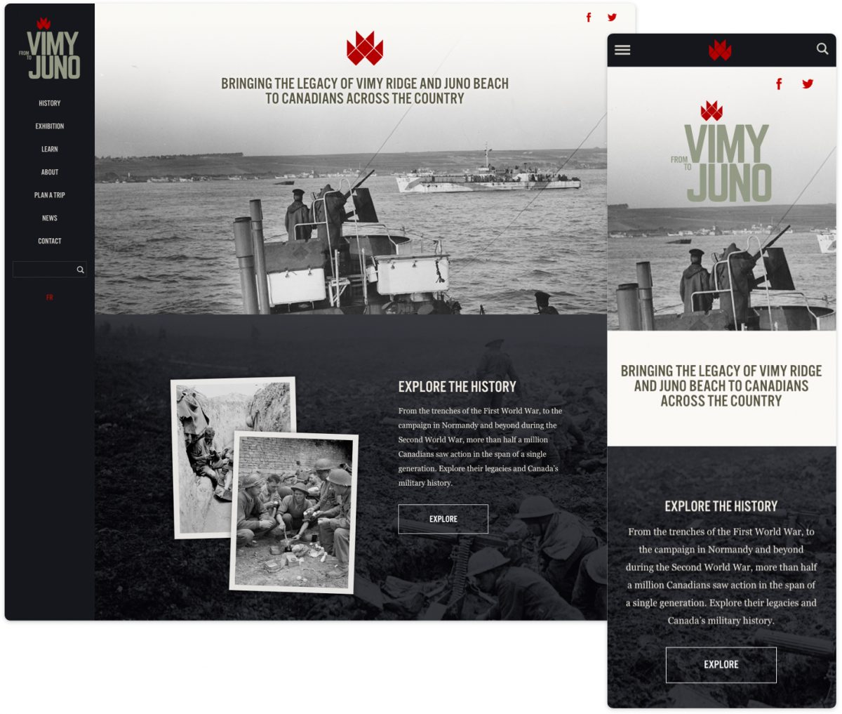 From Vimy to Juno displaying flexible images on desktop versus mobile.
