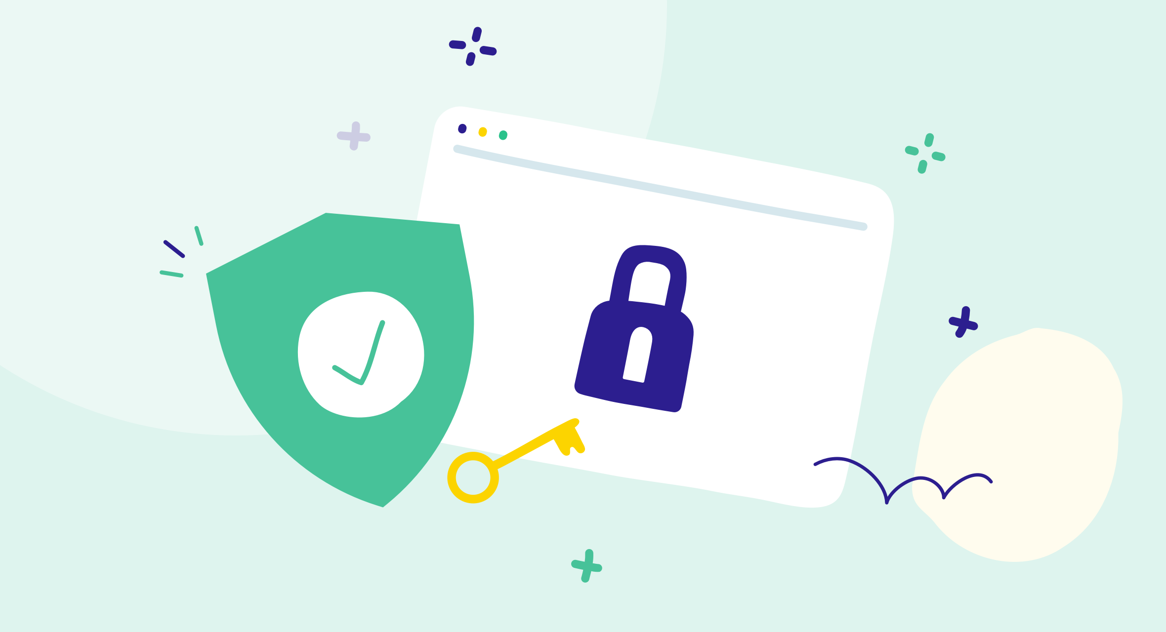 mint green background with a security badge, key, and padlock