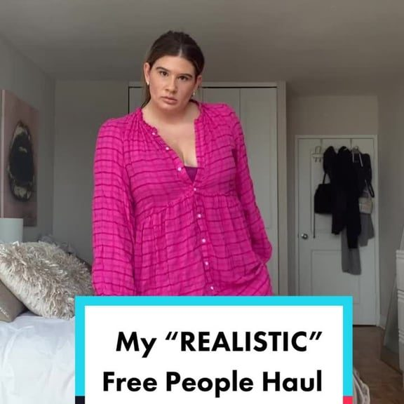 Remi Bader wearing a pink dress on Tik Tok for a realistic Free People haul