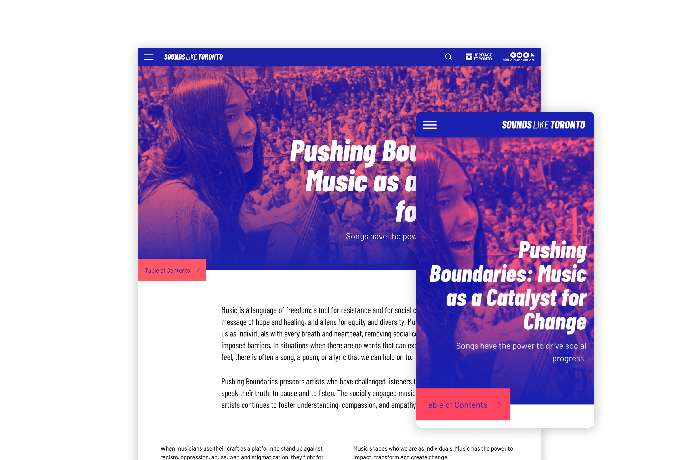 Desktop and mobile view of a stage page