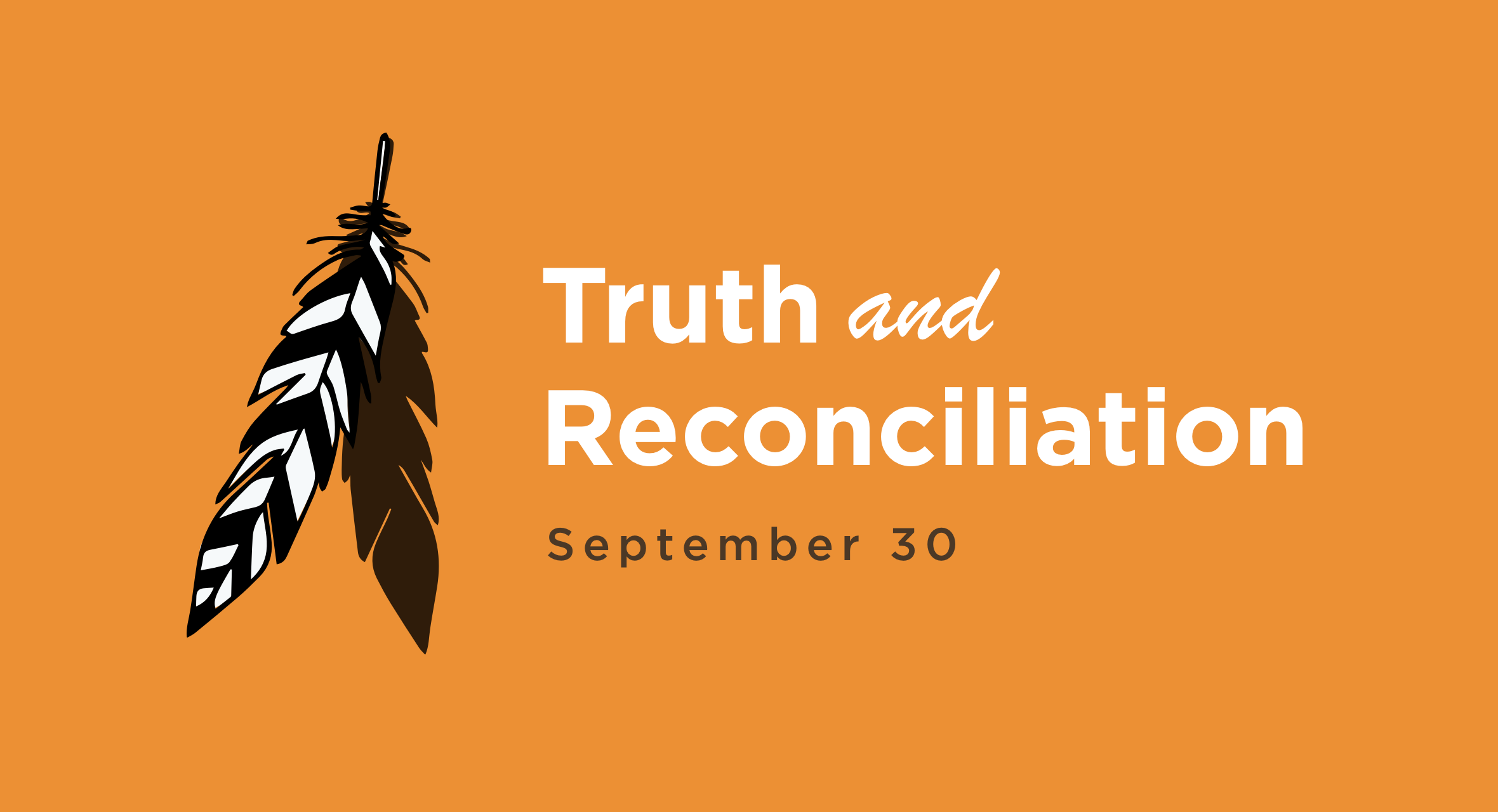 A feather on an orangeg bacground with the words Truth and Reconciliation on it